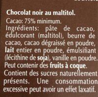 Noir 75% cacao - Inhaltsstoffe - fr