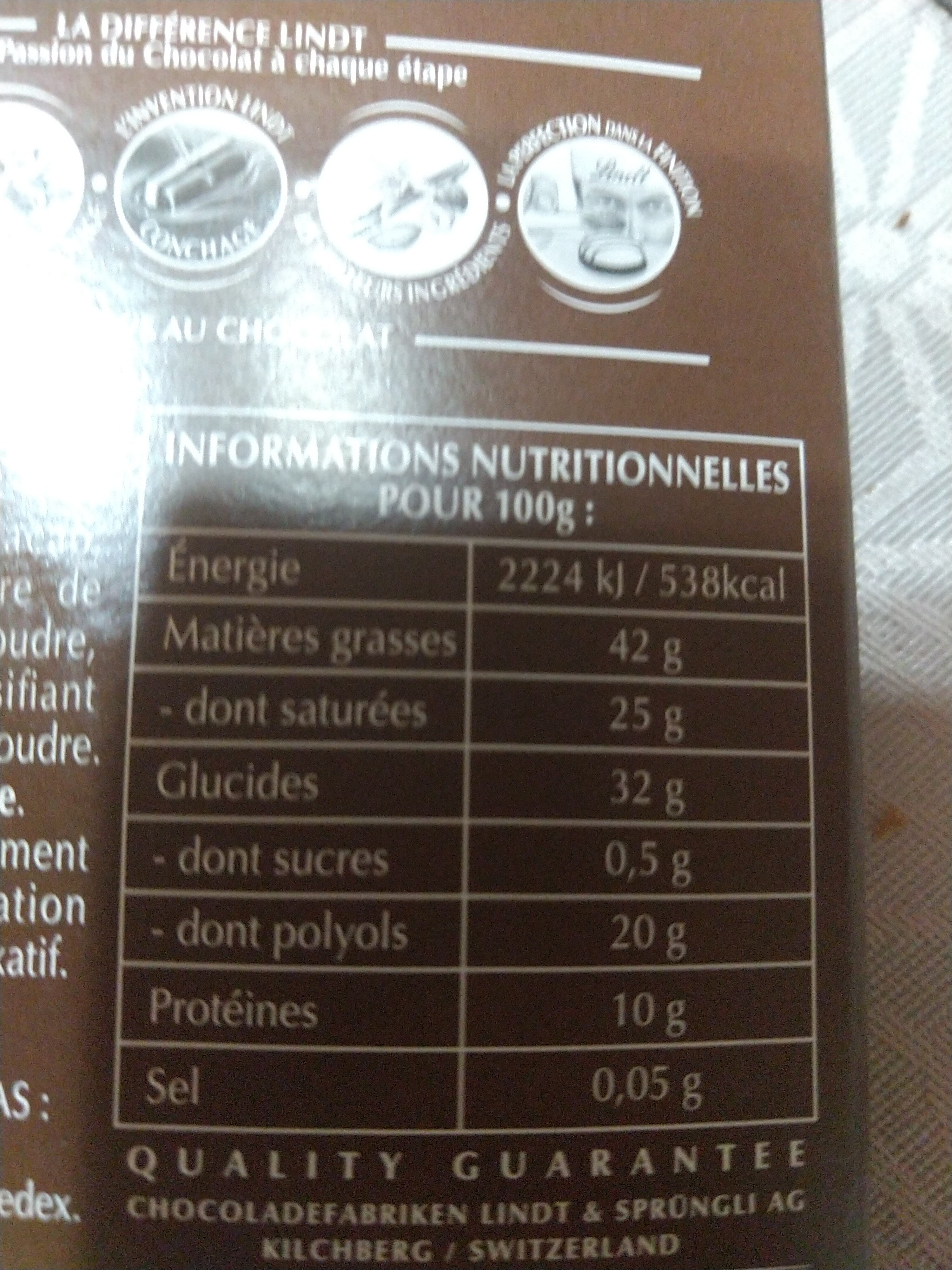 Noir 75% cacao - Nährwertangaben - fr