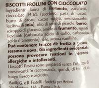 Gocciole chocolate Pavesi - Ingrédients