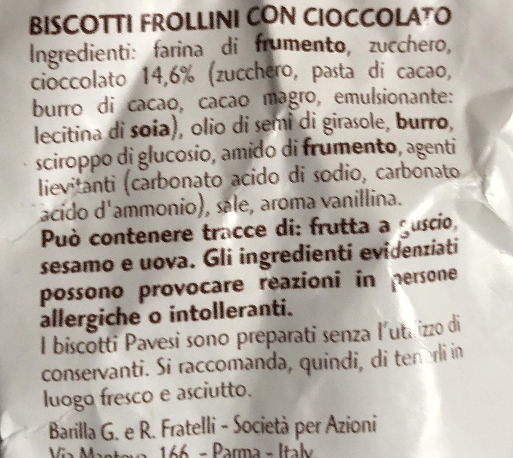 Gocciole chocolate Pavesi - Ingrédients - fr