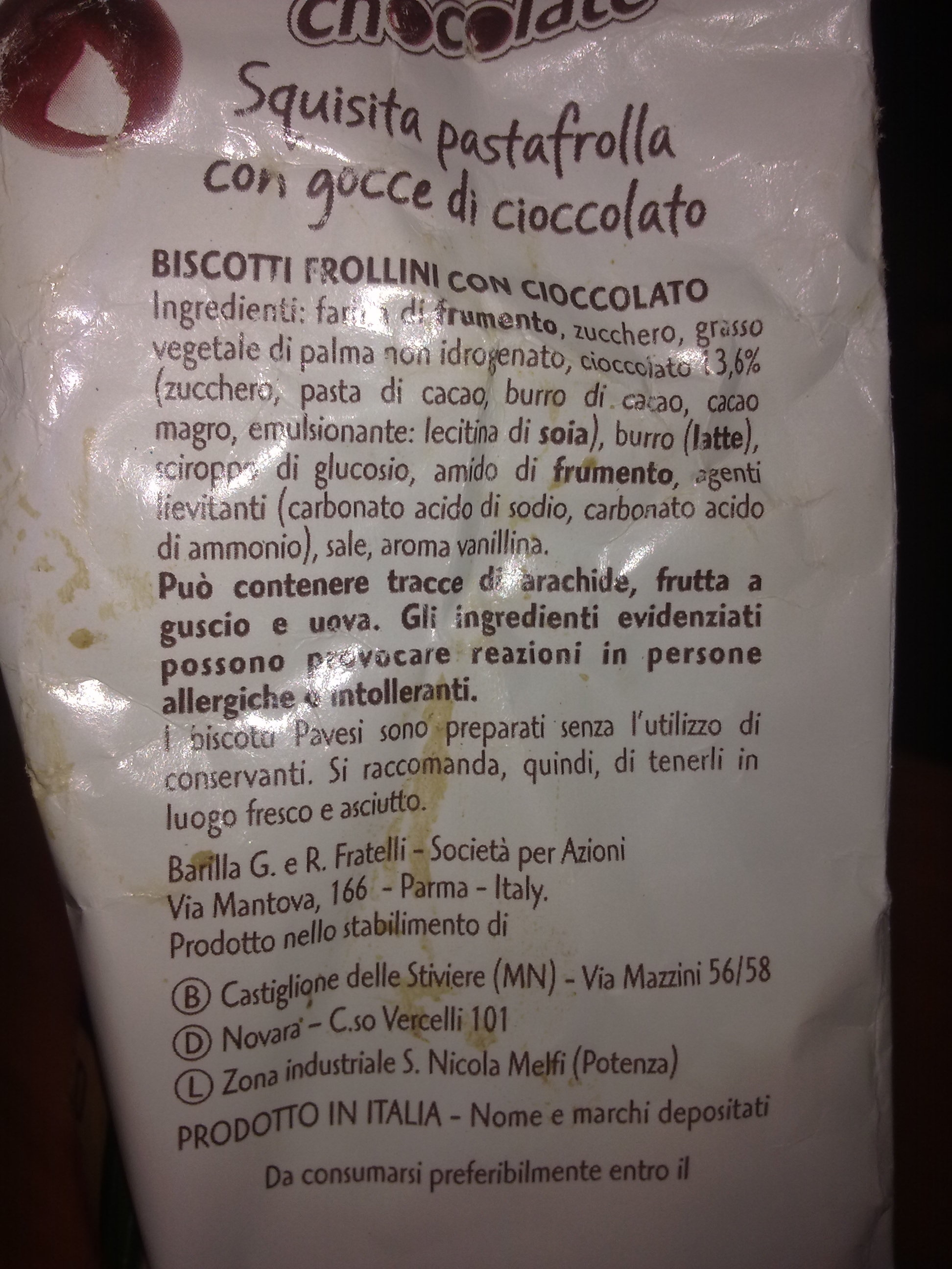 Gocciole chocolate Pavesi - Ingredienti