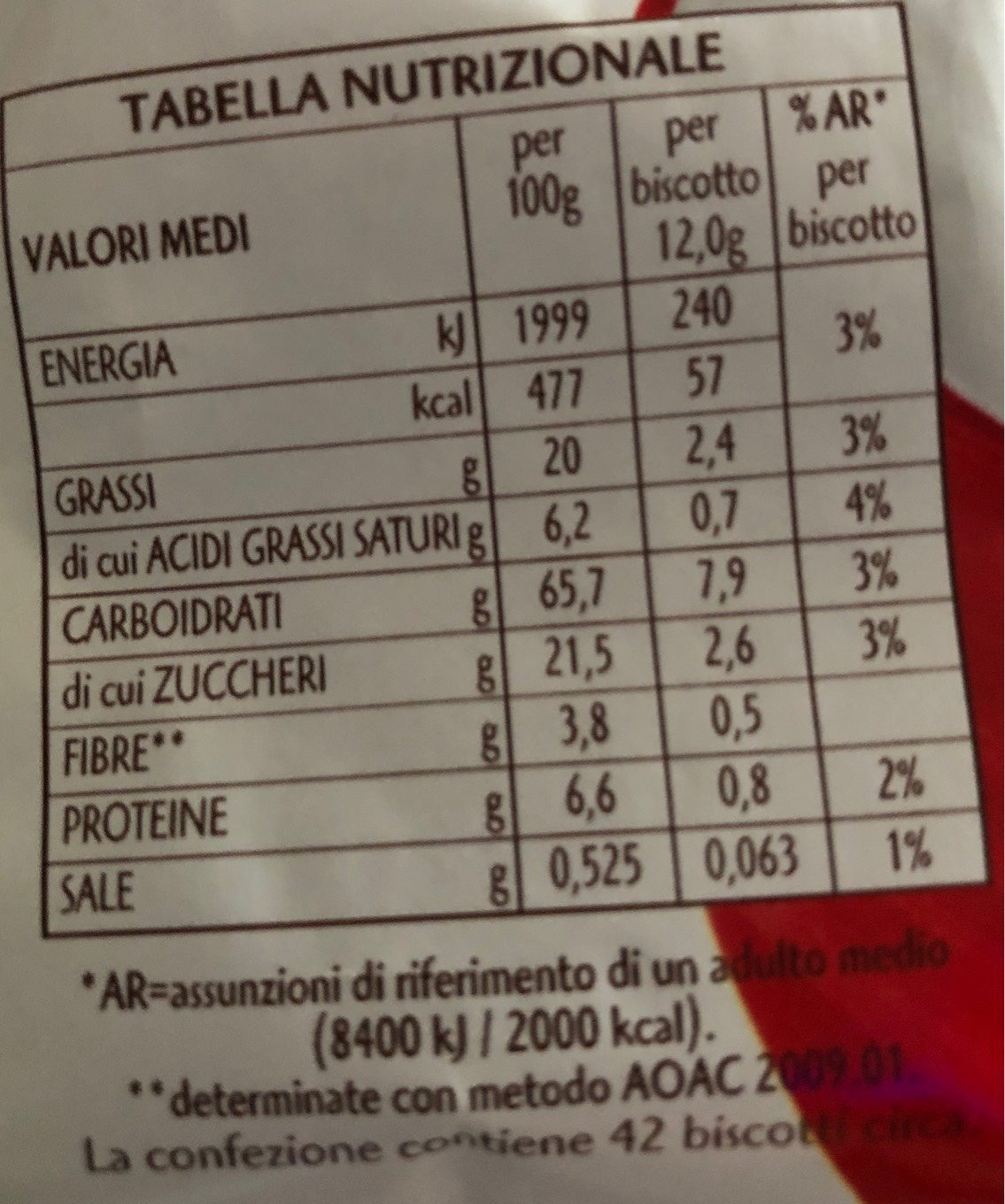 Gocciole chocolate Pavesi - Informations nutritionnelles - fr