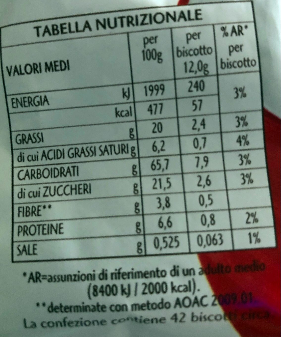 Gocciole chocolate - Nutrition facts