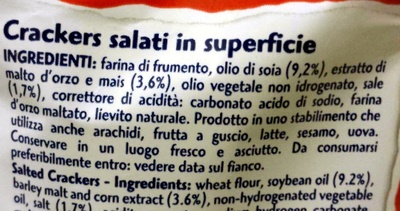 Cracker salati Gran Pavesi gran formato - Ingredienti
