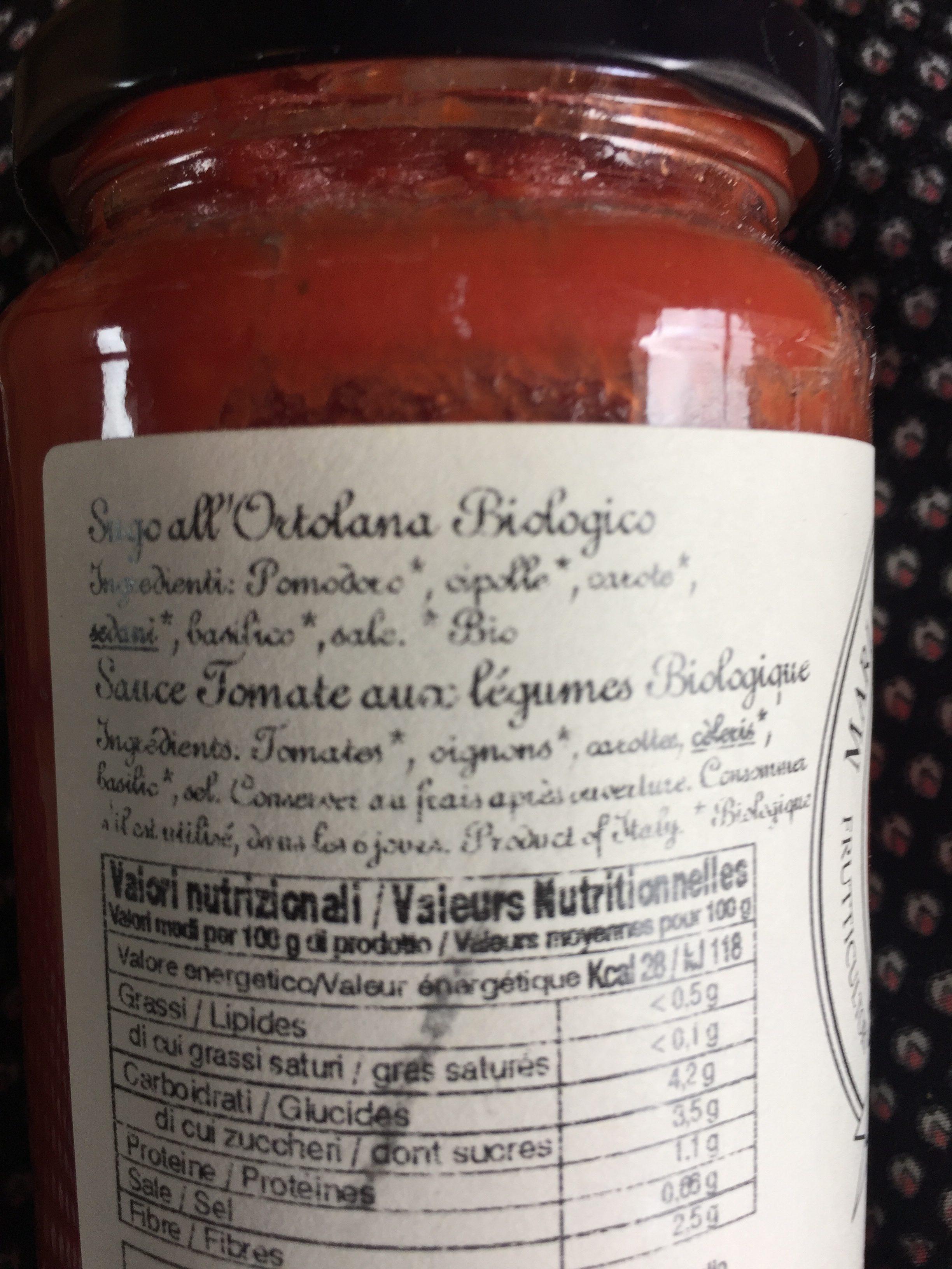 Sugo all ortolana bio - Ingredients