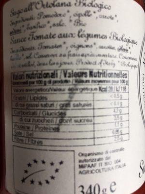 Sugo all ortolana bio - Nutrition facts