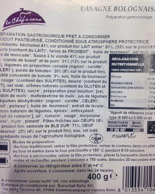 Lasagnes bolognaose bio - Ingrédients - fr