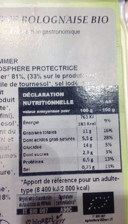 Lasagnes bolognaose bio - Informations nutritionnelles - fr
