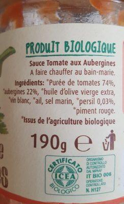 Sauce tomate aubergines - Ingredients