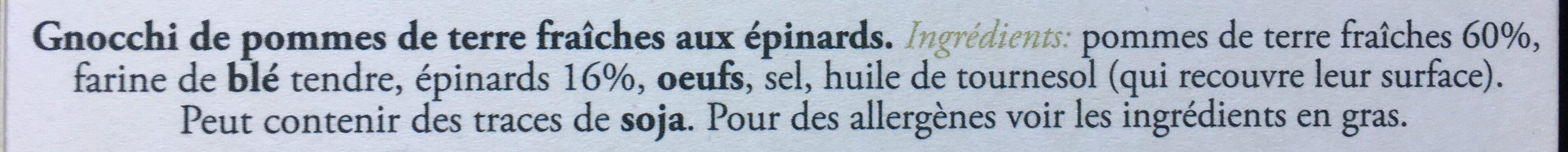 Gnocchi rigati aux epinards - Ingrediënten