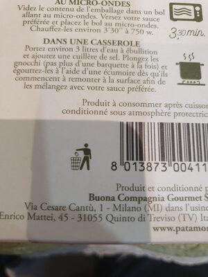 Gnocchi rigati a la courge - Istruzioni per il riciclaggio e/o informazioni sull'imballaggio - fr