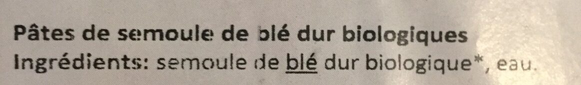 Pâtes Blanches RIGATONI - Ingredients