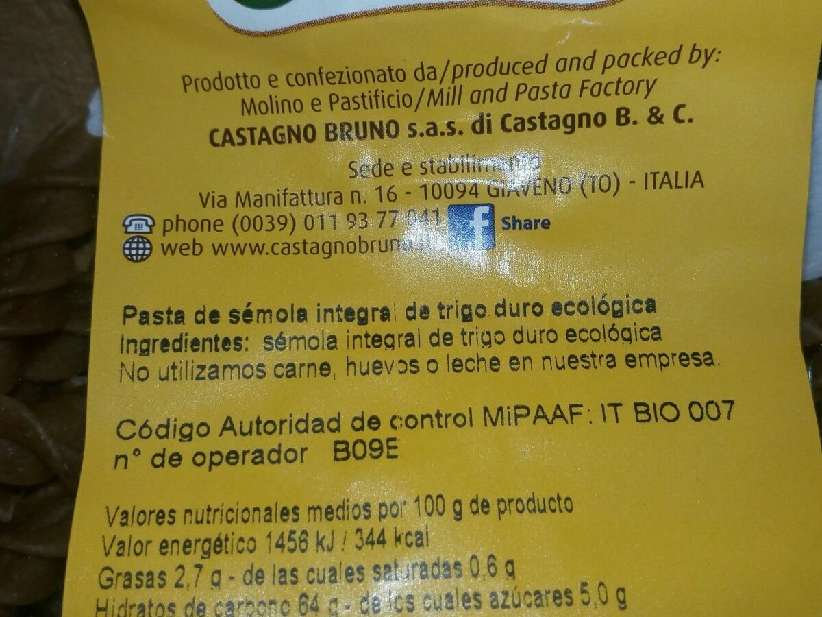 Pâtes complètes - Ingredients - fr