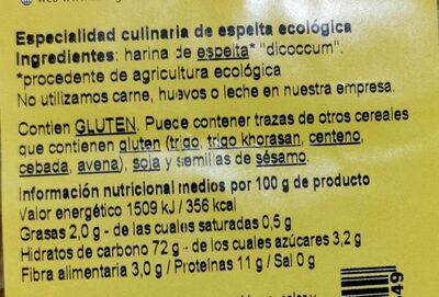 Macarrones Espelta Blanca Bio 500 GR. - Informations nutritionnelles