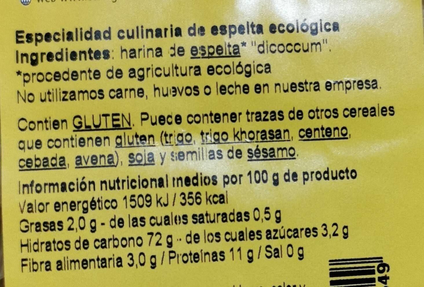 Macarrones Espelta Blanca Bio 500 GR. - Informations nutritionnelles - fr