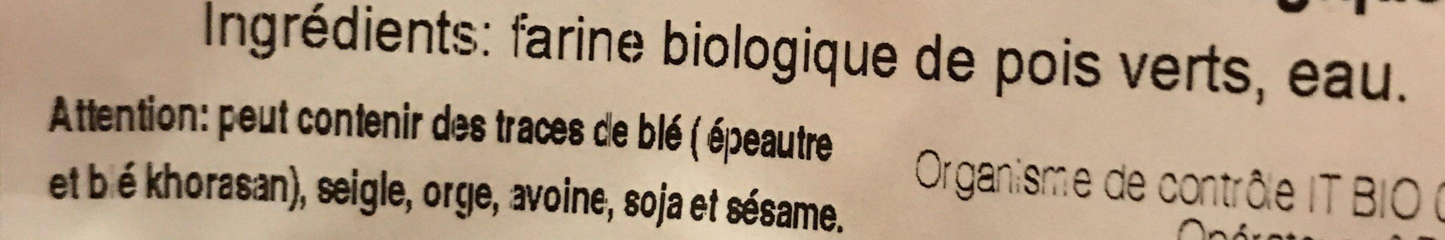 Sedani Di Piselli Bio - Ingredientes