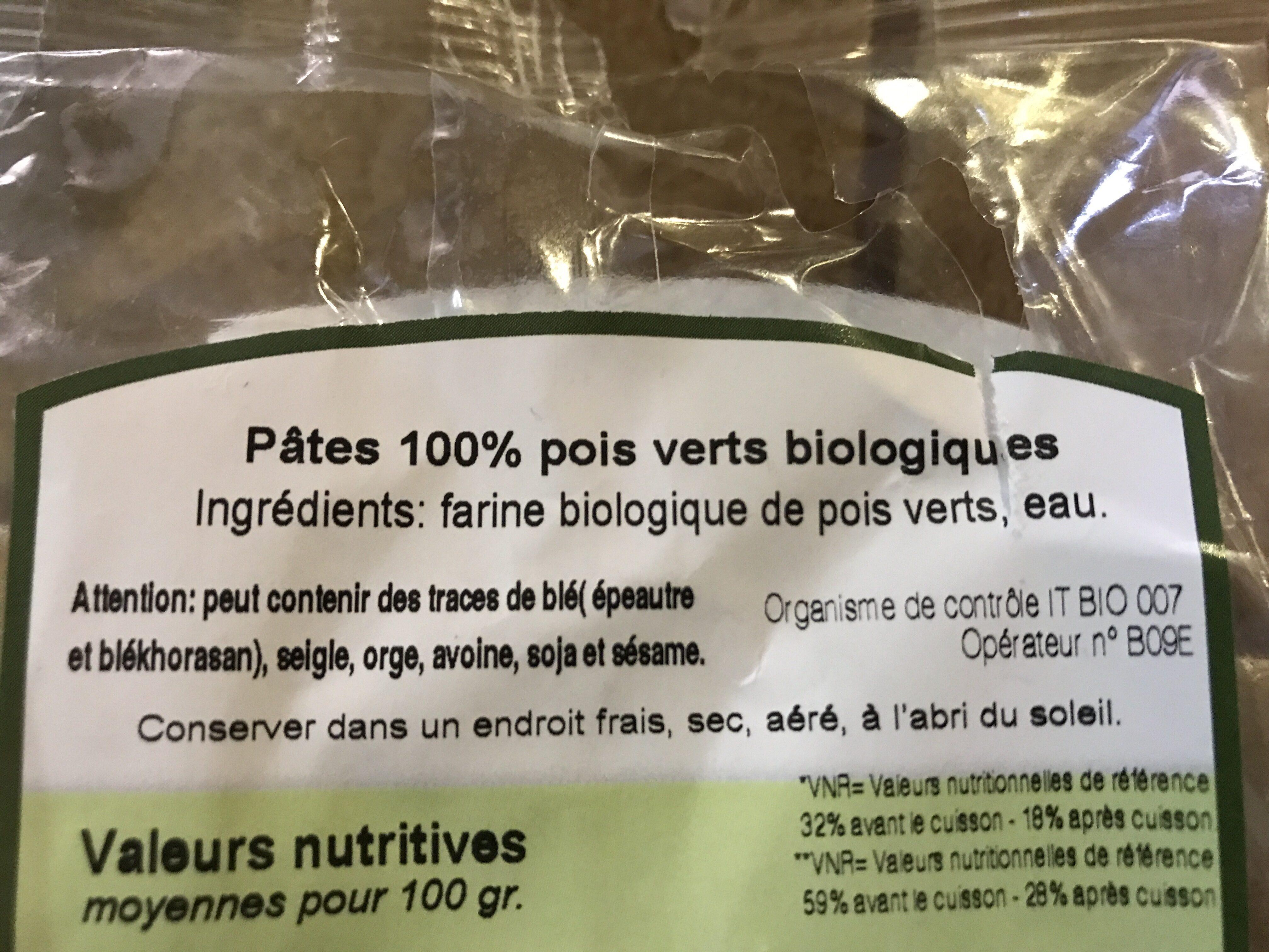Fusilli Di Piselli Bio - Ingredients - fr