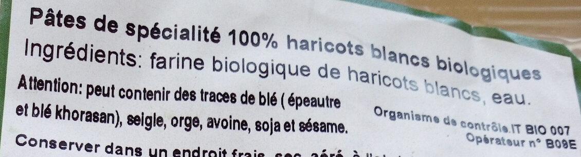 Pâtes 100% haricots blancs biologiques - Ingrédients - fr