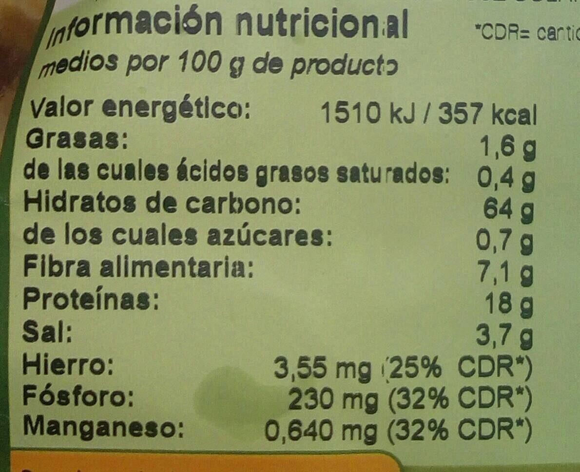 Snacks de Lentejas Rojas - Nutrition facts