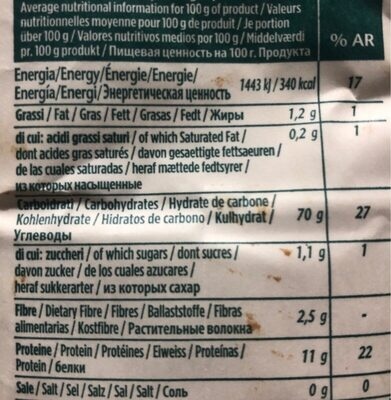 Tarwemeel Bio Farina Biologica 00 Tenero - Nutrition facts - fr