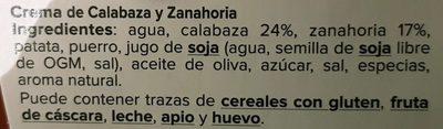 Crema De Calabaza Y Zanahoria - Ingredientes - es