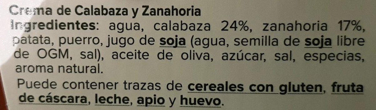 Crema De Calabaza Y Zanahoria - Ingredientes