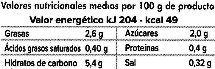Crema De Calabaza Y Zanahoria - Información nutricional