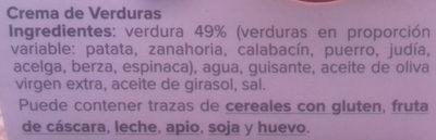 Crema de verduras - Ingredientes