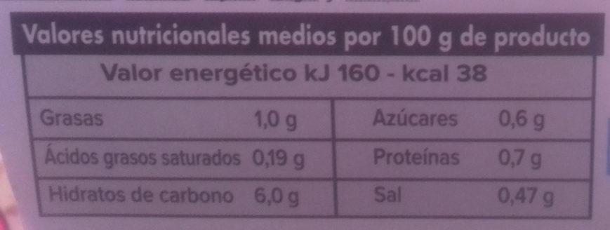 Crema de verduras - Información nutricional