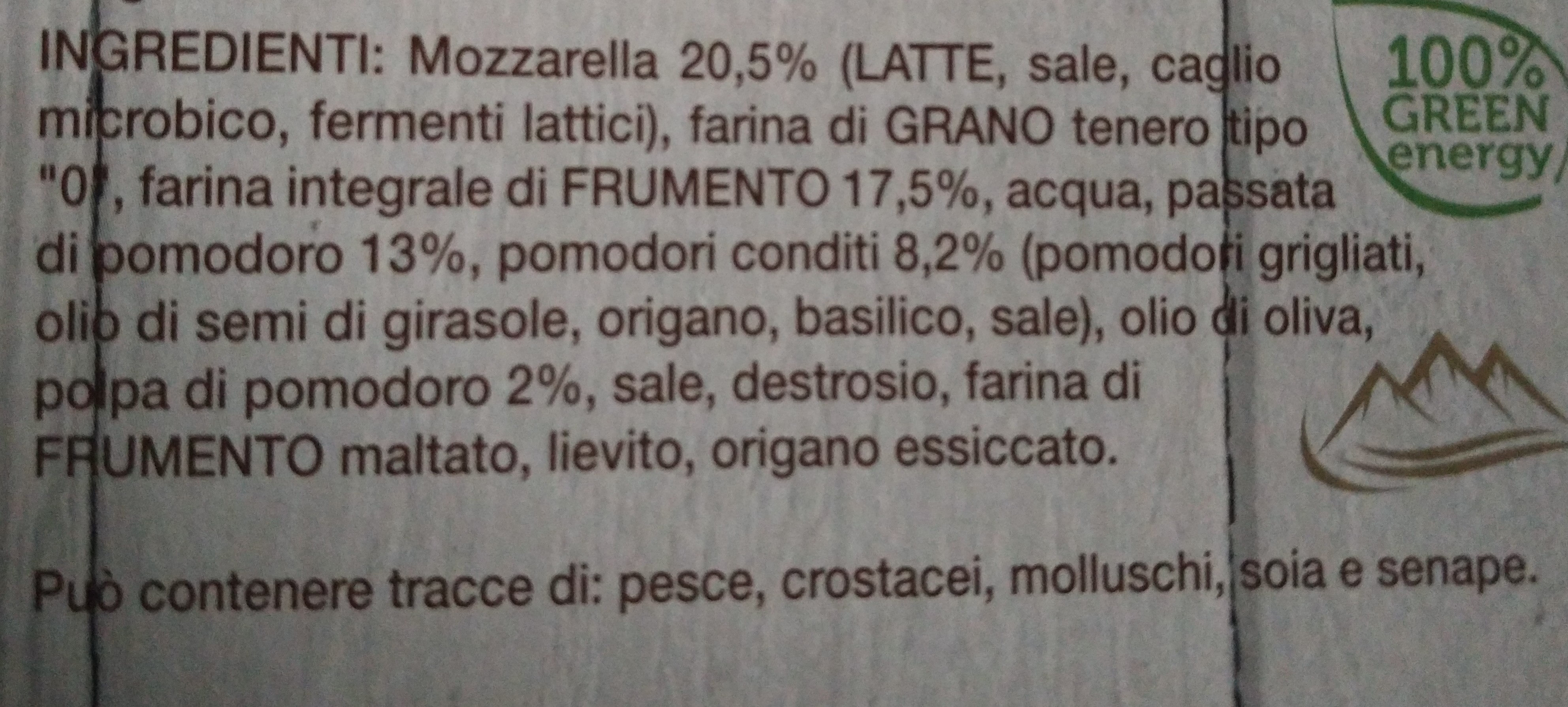 margherita con farina integrale - Ingredients - it