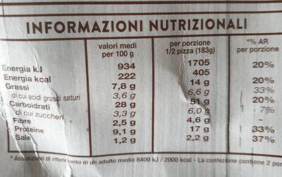 Per te! margherita con farina integrale - Nutrition facts - it