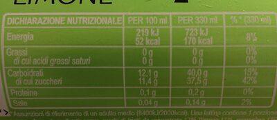 Schweppes Limone - Valori nutrizionali - fr