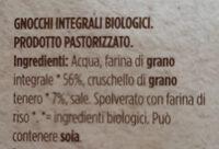 Gnocchi integrali biologici - Ingredienti - it