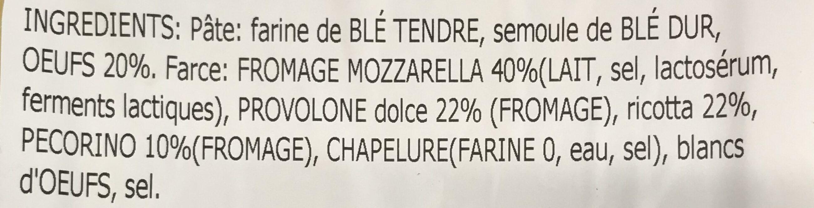 Ravioli aux 4 Fromages - Ingrédients - fr