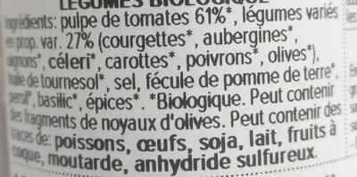 Sauce tomates et légumes - Ingrédients
