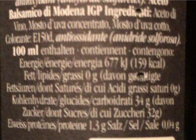 Aceto Balsamico - Valori nutrizionali - fr