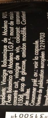 Glassa all'aceto balsamico di Modena I.G.P. - Ingredients - fr