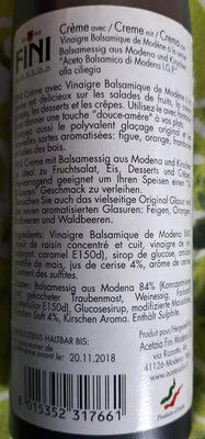 Crème avec Vinaigre Balsamique de Modène à la cerise - Ingrediënten - fr