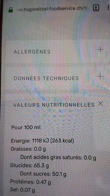 Crème avec Vinaigre Balsamique de Modène à la cerise - Voedingswaarden - fr
