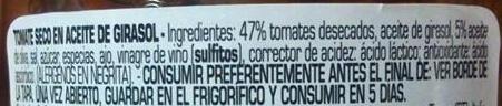 Tomate Seco En Aceite De Girasol - Ingredientes - es