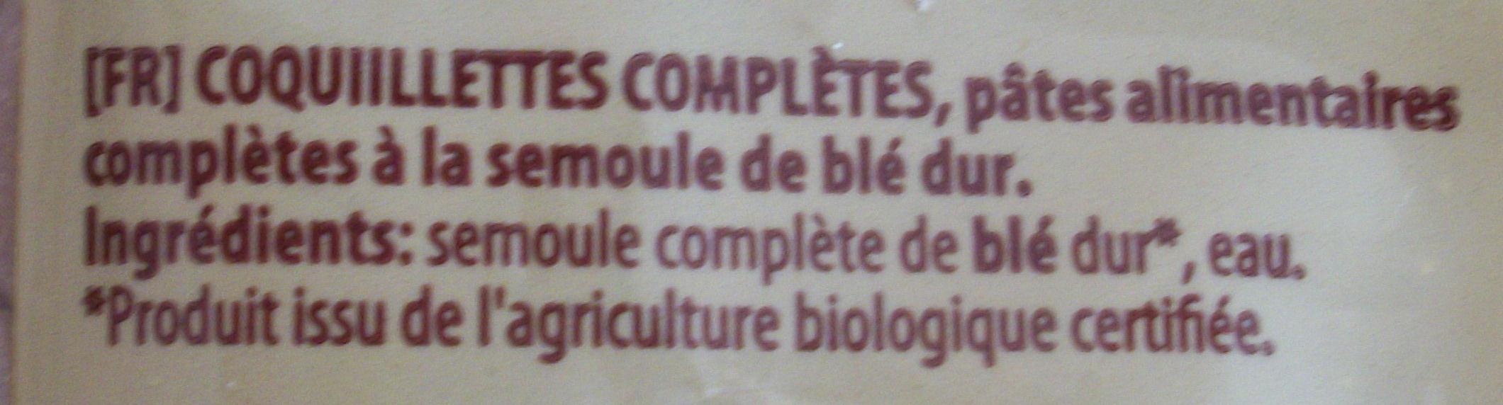 Coquillettes complètes Bio (Gomitini) - Ingrédients
