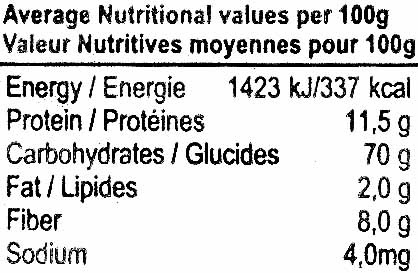 Spaghetti integrale - Nutrition facts