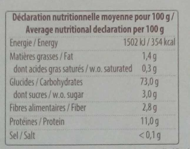Lasagne blanche - Nutrition facts - fr