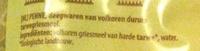 Penne, deegwaren van volkoren durum tarwegriesmeel - Ingrediënten - nl