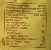 Penne, deegwaren van volkoren durum tarwegriesmeel - Voedingswaarden - nl