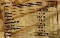 Tubini - Informations nutritionnelles - en
