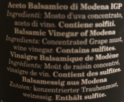 Aceto balsamico di modena - Ingredients - fr