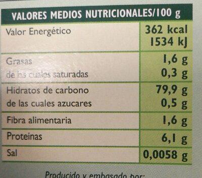 Lasaña de maíz y arroz sin gluten - Informació nutricional - es