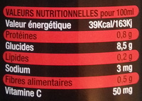 Jus d'orange sanguine Bio - Voedingswaarden - fr