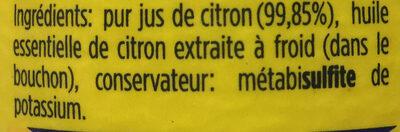 Jus de citron - Ingrédients - fr